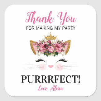 Floral Kitty Thank You Stickers | Black
