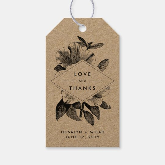 Wedding Thank You Gift Tags: Floral Kraft Wedding Favor Thank You Gift Tags
