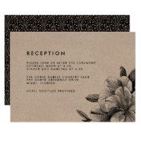 Floral Kraft Wedding Reception Card