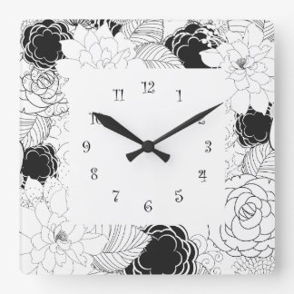 Floral Ktchen Wall Clocks - Black White