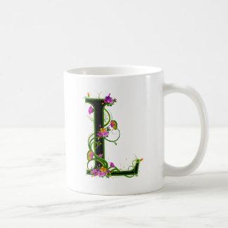 Floral L Classic White Coffee Mug