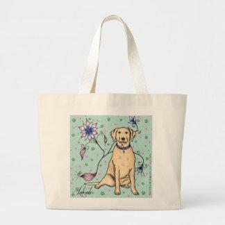 Floral Labrador Tote Bag