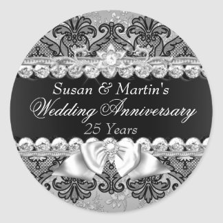 Floral & Lace 25th Wedding Anniversary Sticker