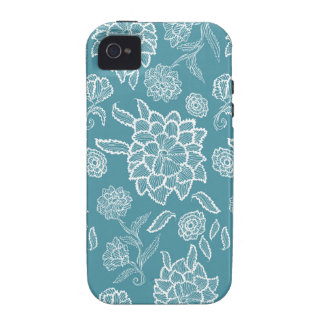 Floral Lace Blue White flower flowers pattern Vibe iPhone 4 Case