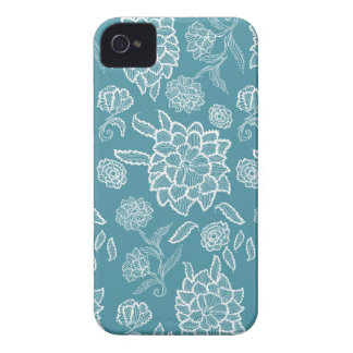Floral Lace Blue White flower flowers pattern Case-Mate iPhone 4 Case