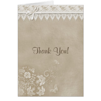 Floral Lace Butterfly Wedding Card