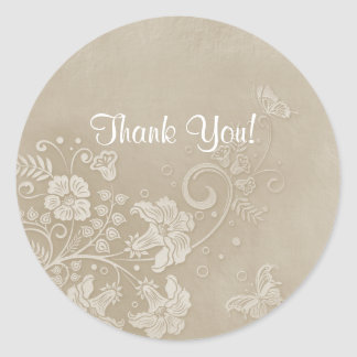 Floral Lace Butterfly Wedding Classic Round Sticker