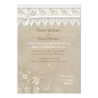 Floral Lace Butterfly Wedding 5x7 Paper Invitation Card (<em>$2.27</em>)