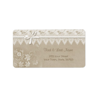 Floral Lace Butterfly Wedding Label