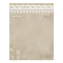 Floral Lace Butterfly Wedding Letterhead