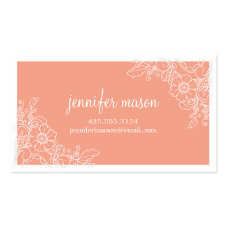Floral Lace Calling Card - Coral Double-Sided Standard Business Cards (Pack Of 100)