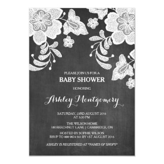 Floral Lace | Chalkboard Baby Shower Invitation