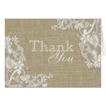 Floral Lace Design and Burlap Thank You Greeting Card