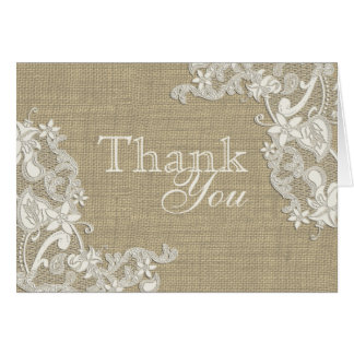 Floral Lace Design and Burlap Thank You Card