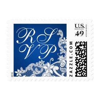 Floral Lace Design Blue RSVP Stamps