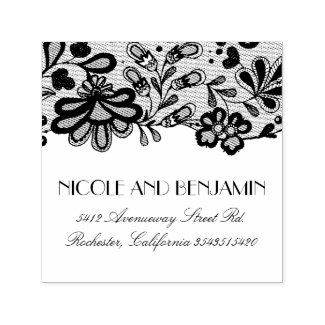Floral Lace Elegant Wedding Self-inking Stamp