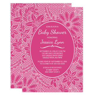 Floral Lace Fuchsia Pink Girl Baby Shower Invite