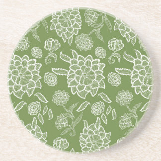 Floral Lace Green White flower flowers pattern Beverage Coasters