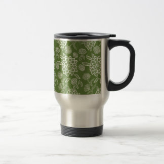 Floral Lace Green White flower flowers pattern Travel Mug