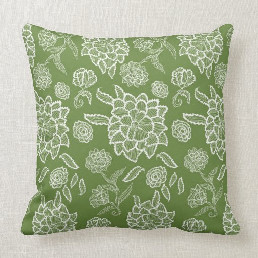 Floral Lace Green White Flower Pattern Pillow