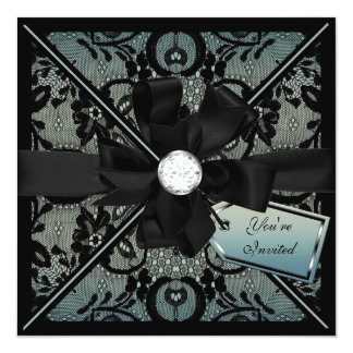 Floral Lace Invite with Diamond Bow