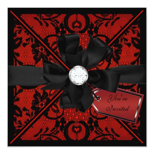 Black Flower Bow With Diamond: Floral Lace Invite With Diamond Bow