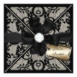 """Floral Lace Invite with Diamond Bow 5.25"""" Square Invitation Card"""