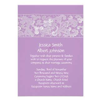 Floral Lace Lavender Wedding Invite