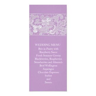 Floral Lace Lavender Wedding Menu Personalized Announcement Cards