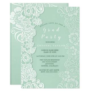 Floral Lace Mint Graduation Invitation