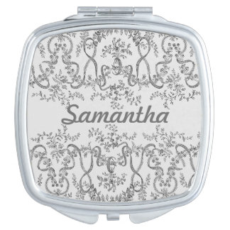 Floral & Lace Personalized Compact Mirror