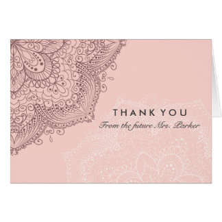 Floral Lace | Pink Thank You Card