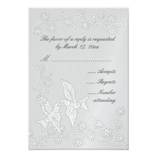 "Floral Lace Platinum Response Card Wedding 3.5"" X 5"" Invitation Card"