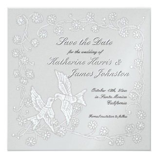 "Floral Lace Platinum Save the Date Announcement 5.25"" Square Invitation Card"