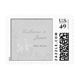 Floral Lace Platinum Wedding Announcement Postage