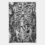 Floral lace skeleton with butterflies hand towels