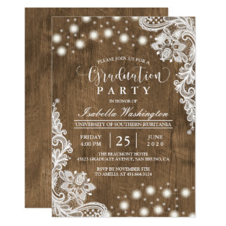 Floral Lace String Light Rustic Graduation Party Card
