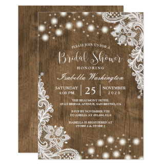 Floral Lace String Light Rustic Wood Bridal Shower Card