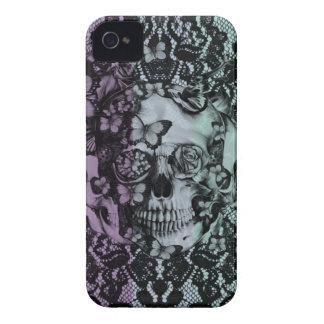 Floral Lace subtle striped skull Case-Mate iPhone 4 Case