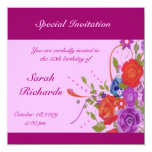 "Floral Lady Birthday 5.25"" Square Invitation Card"