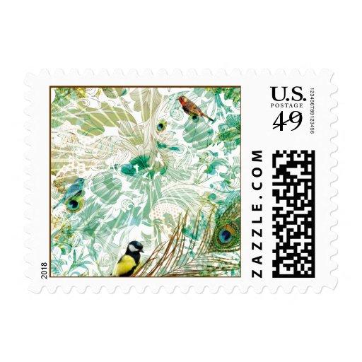 Floral Landscape Collage Postage Stamps