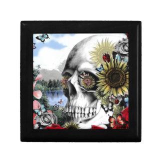 Floral landscape skull keepsake box