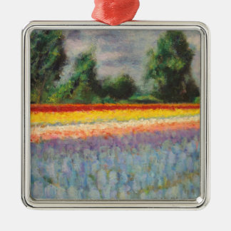 Floral Landscape Triptych Painting 1 of 3 Christmas Ornaments
