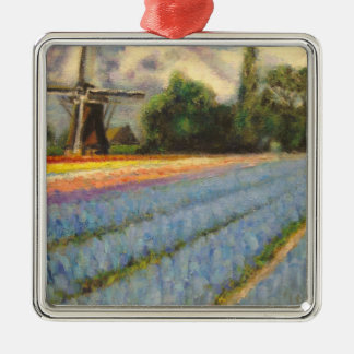 Floral Landscape Triptych Painting 2 of 3 Metal Ornament