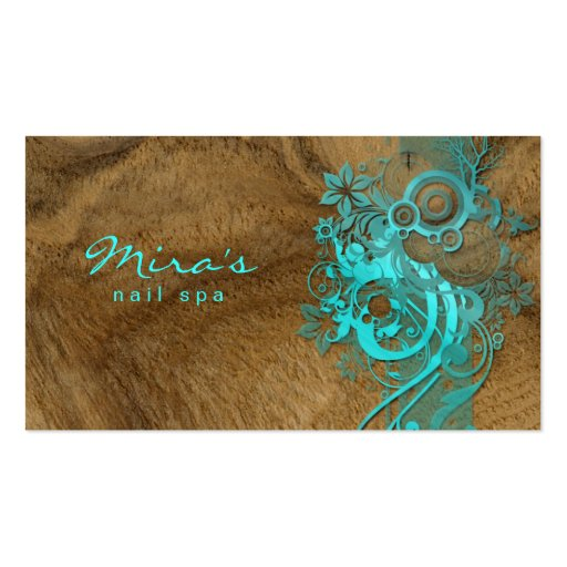 Floral Landscaping Business Card Wood Blue