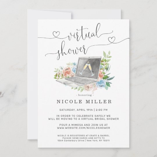 Floral Laptop | Virtual Bridal Shower Invitation