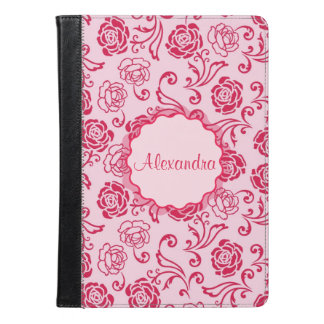 Floral lattice pattern of tea roses on pink name iPad air case