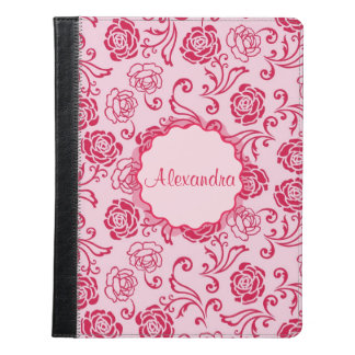 Floral lattice pattern of tea roses on pink name iPad case