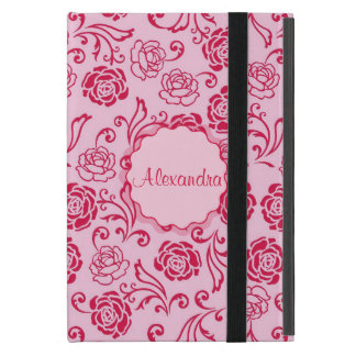 Floral lattice pattern of tea roses on pink name iPad mini cover