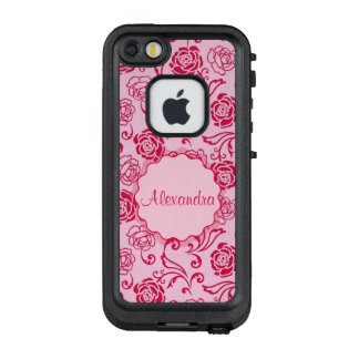 Floral lattice pattern of tea roses on pink name LifeProof FRĒ iPhone SE/5/5s case